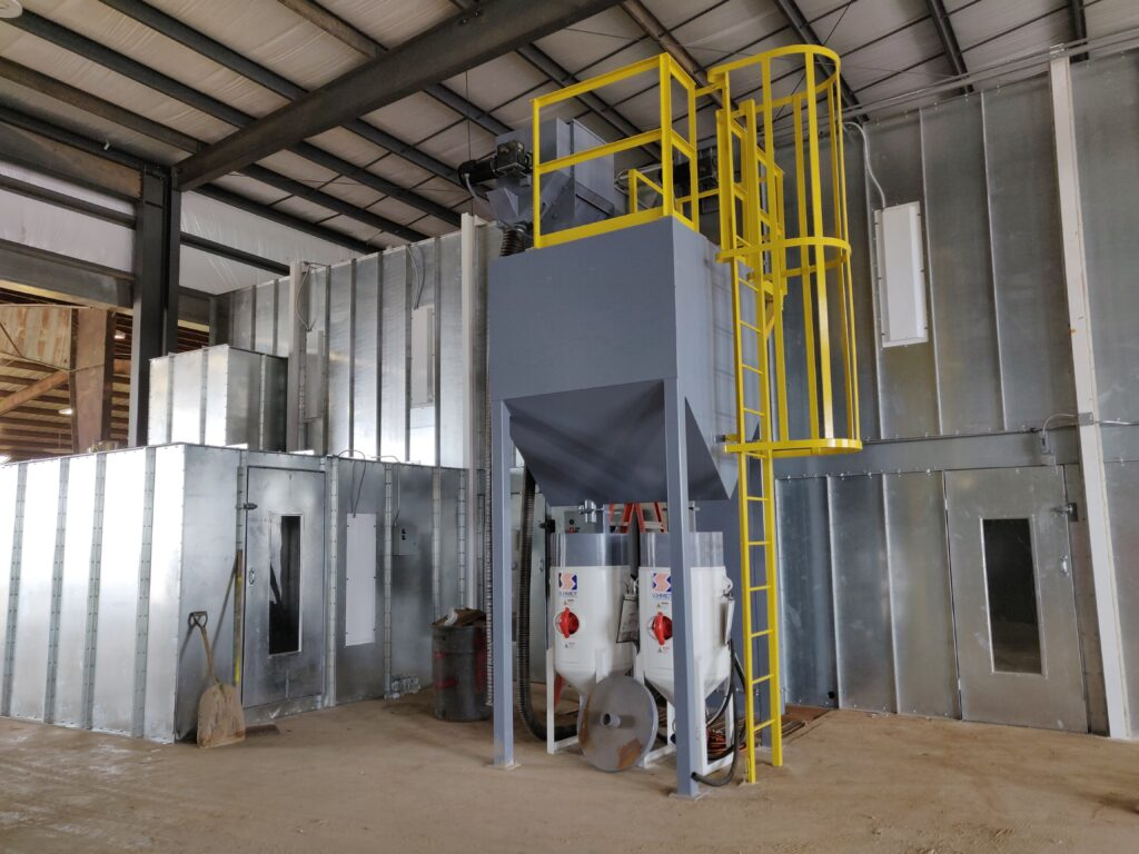 Primoris Custom Abrasive Blasting Booth with Reclaim System for sale
